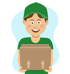 delivery teenager boy with cardboard box vector image vector image