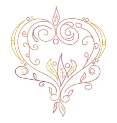 Doodle color abstract heart with willow vector