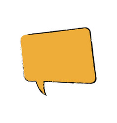 Drawing yellow square bubble speech chat talk vector