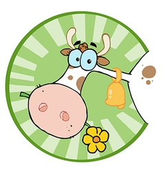 Farm Cow Munching On A Flower In A Green Circle vector image vector image