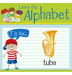 Flashcard letter t is for tuba vector