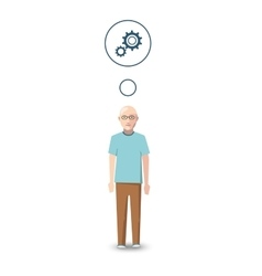 Flat character engineer with profession icon vector image