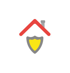 Flat design concept of shield guard under roof vector