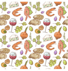french cuisine hand drawn seamless pattern vector image vector image