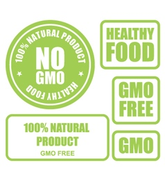 GMO free and healthy food stamps and labels vector image vector image
