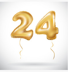 Golden 24 number twenty four metallic balloon vector