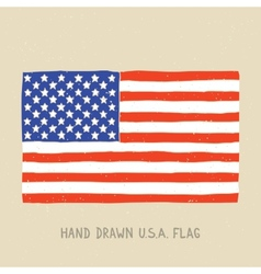 Hand drawn american flag vector image vector image