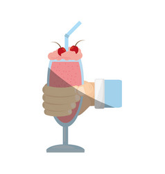 Hand holding glass cup milk shake cherry vector