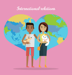 international relations afro man and white woman vector image