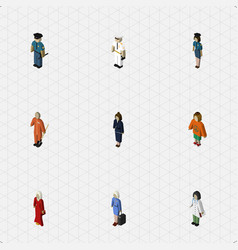 Isometric people set of seaman female lady and vector