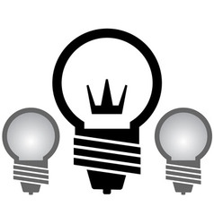 Light bulb with crown set vector