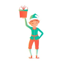 Little elf standing and holding gift christmas vector