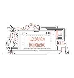 Marketing - line design with vector image vector image