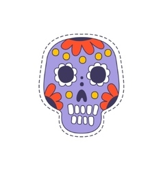 Mexican painted skull bright hipster sticker vector