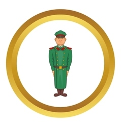 Military officer in greatcoat icon vector