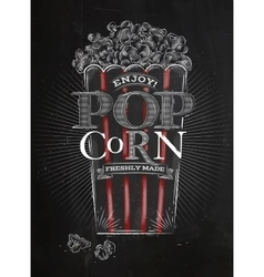 Poster popcorn black vector image vector image
