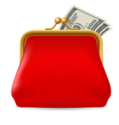 Red purse with dollars on white background for vector