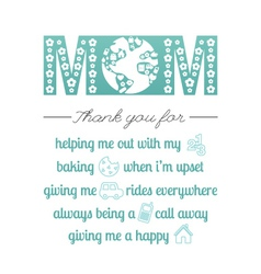 Thank you mom vector image