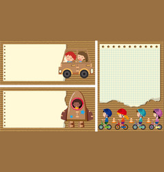 three paper background with kids playing vector image