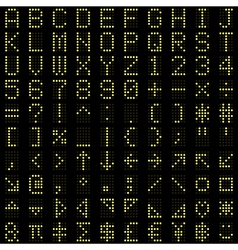 Yellow dot digital font and symbol set vector image