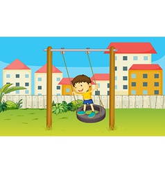 Boy playing swing vector