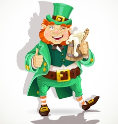 Cute fat Leprechaun with a pot of ale froth vector image