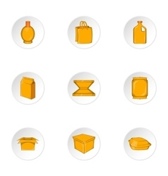 Container icons set cartoon style vector