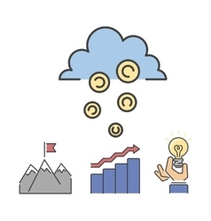Business success money cloud icons set vector