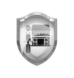 metallic shield of builder with helmet and house vector image