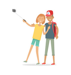 Happy boy and girl in casual clothes making selfie vector