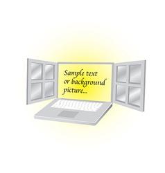 Open laptop vector