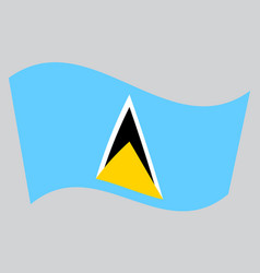 Flag of saint lucia waving on gray background vector
