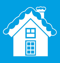 Small snowy cottage icon white vector