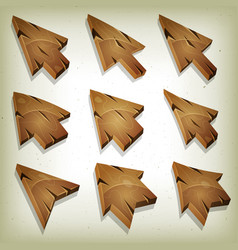 Cartoon wood icons cursor and arrows vector