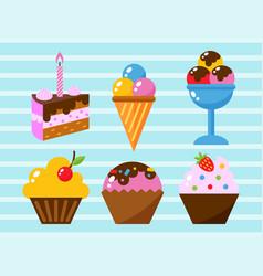 Little delicious cupcakes sweet dessert vector