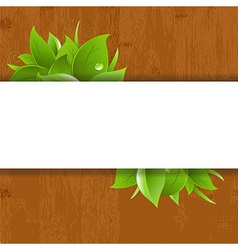Wood background with leaves vector