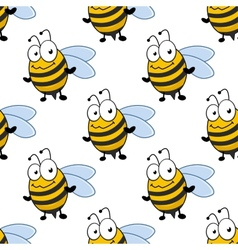 Cartoon smiling bee seamless pattern vector
