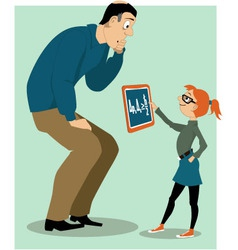 Father helping his daughter with a homework vector