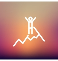 Skiing in ice mountain thin line icon vector
