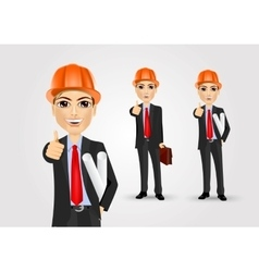 Male engineer giving thumbs up vector