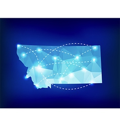 Montana state map polygonal with spotlights places vector