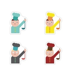 Set of paper stickers on white background cook vector