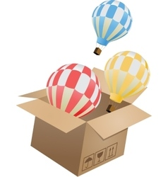 Flying object in carton box-03 vector