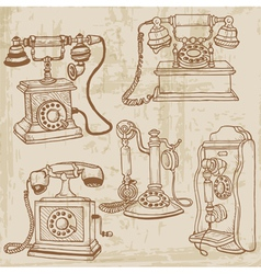 Vintage telephones set vector