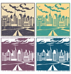 City and highway old posters vector