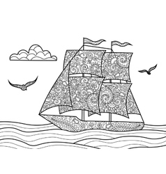 Sailing ship coloring book for adults vector