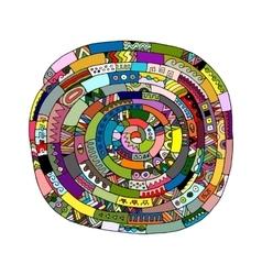 Ethnic spiral mandala sketch for your design vector