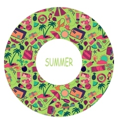 Summertime circle traveling template with beach vector