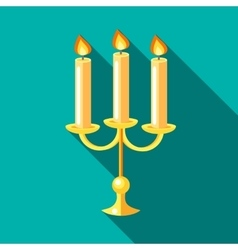 Chandelier with candles icon flat style vector