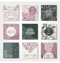 Abstract decorative postcard templates vector image